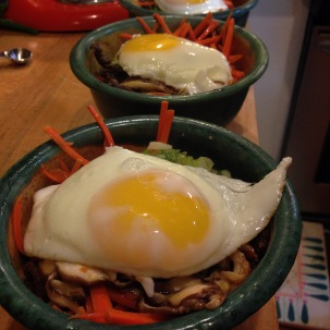 I tried out some Korean cuisine and made bibimbap. Deliciousness in a bowl.