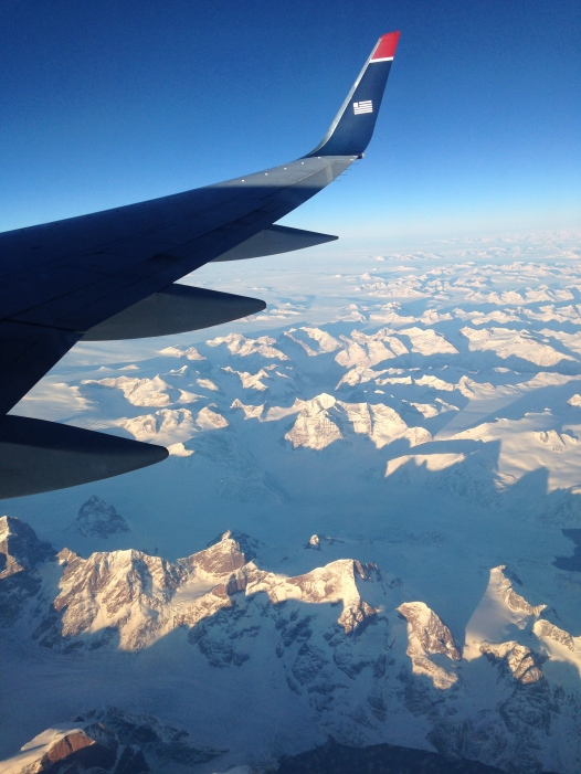 And we flew over the mountains of Greenland and I was blown away by the view.