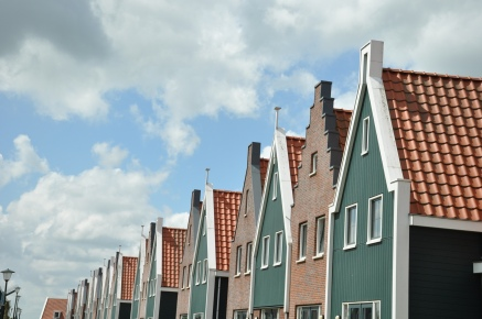 Rows and rows of little typical Dutch houses.