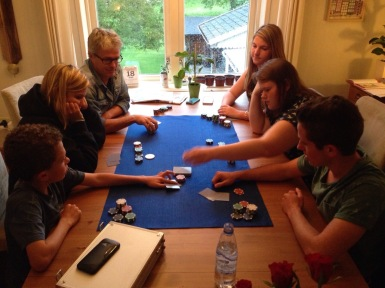 Playing poker. My poker face is something to cry over.