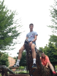 Duncan riding with the wolves, and Kelly on the struggle bus.
