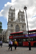 Westminster Abbey with a red double decker bus. Can you get any more London than this?