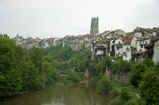 Looking up at Fribourg
