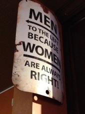 A great restroom sign in the restaurant we had dinner at.
