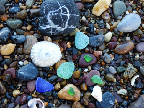 The rocks, and beach glass were so colorful.