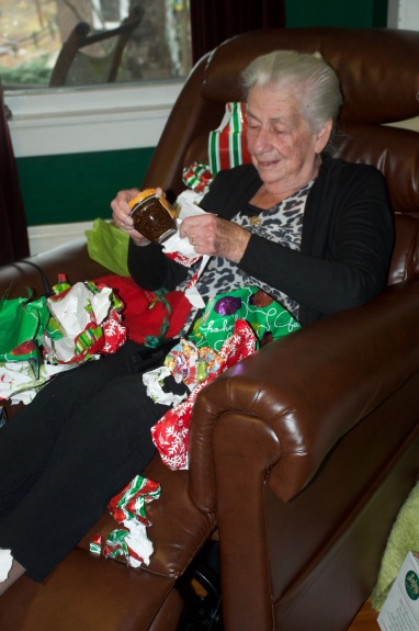 Oma got a little bit lost in all of the wrapping paper on Christmas day.